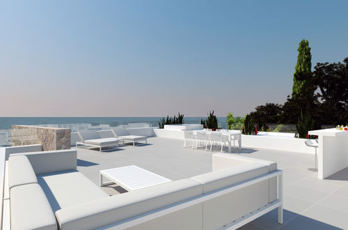 New construction project for a frontline villa with panoramic sea view