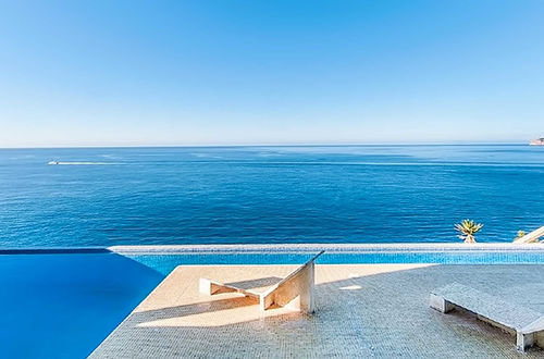 Frontline estate with views over the Mediterranean sea and the port.
